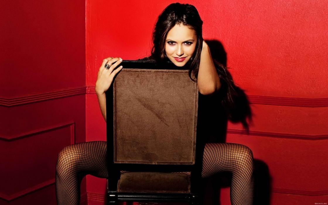 women Nina Dobrev fishnet stockings wallpaper