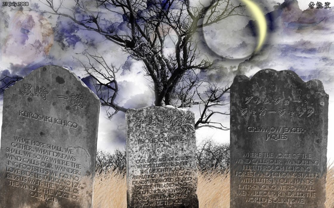 clouds trees text Bleach Moon Kurosaki Ichigo Inoue Orihime Grimmjow Jaegerjaquez grave stones wallpaper