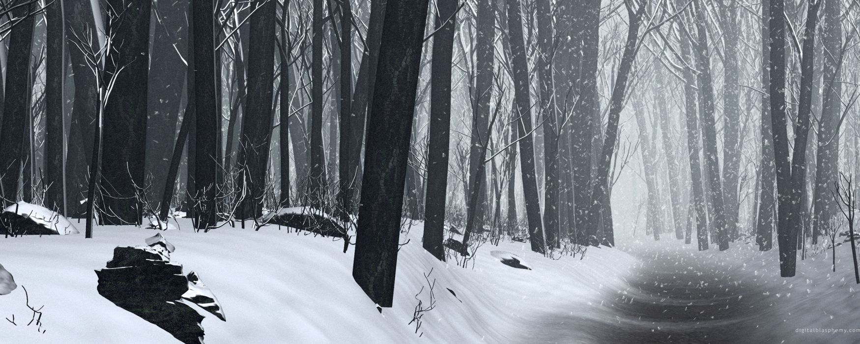 snow forests CGI wallpaper