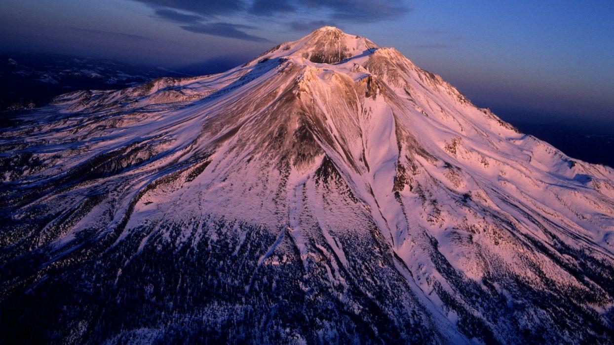 volcanoes California Mount Shasta aerial view wallpaper