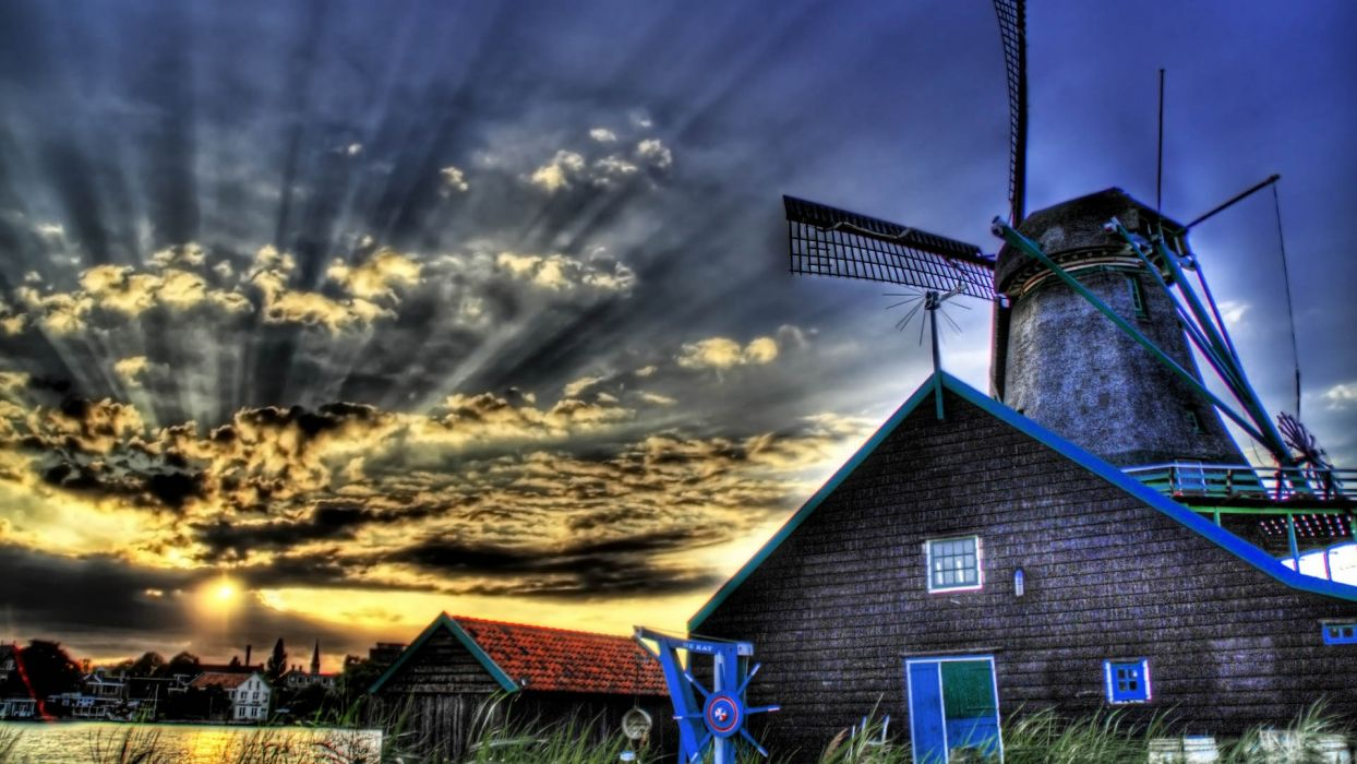 landscapes nature architecture fields windmills skies wallpaper