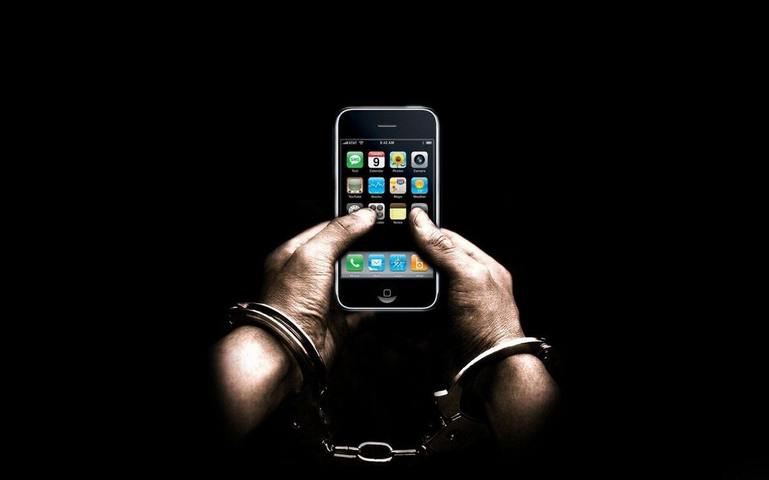 hands handcuffs iPhone chains black background wallpaper