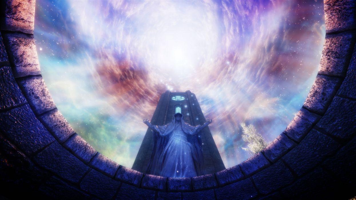 video games landscapes screenshots statues The Elder Scrolls V: Skyrim 3D art wallpaper