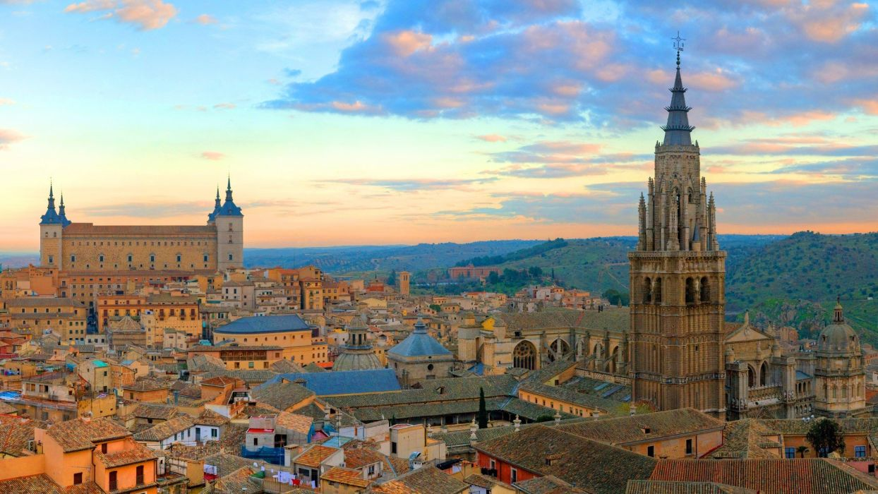 cityscapes buildings Spain panorama Toledo cities skyline wallpaper
