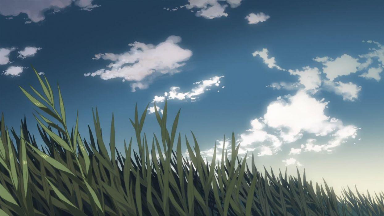 grass animated Makoto Shinkai 5 Centimeters Per Second drawn skyscapes wallpaper