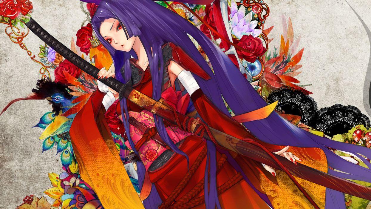 Samurai girl painting katana kimono yukata wallpaper