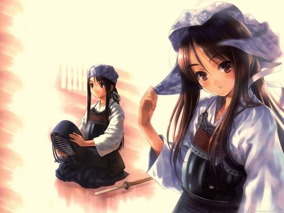 Kendo Tenugui bogu men tare kote do girl shinai japan martial art wallpaper