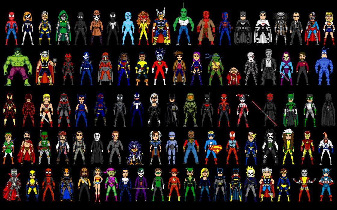 DC Comics suit superheroes Ghost Rider pixel art Marvel Comics comparisons wallpaper