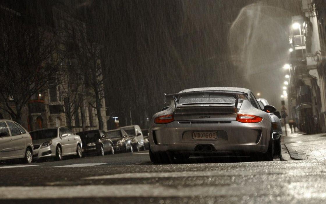streets night rain cars silver Belgium Porsche 911 GT3 wallpaper