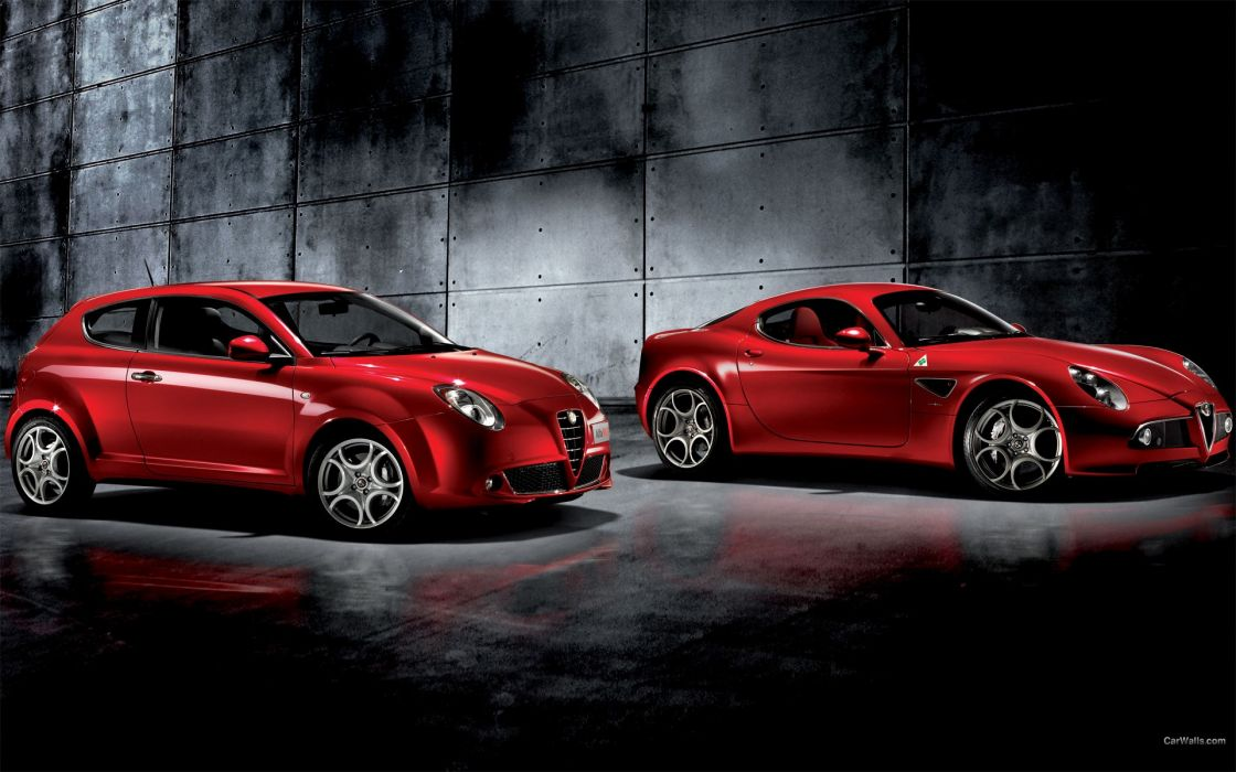 cars Alfa Romeo vehicles Alfa Romeo 8C Alfa Romeo 8C Competizione Alfa Romeo MiTo front angle view wallpaper