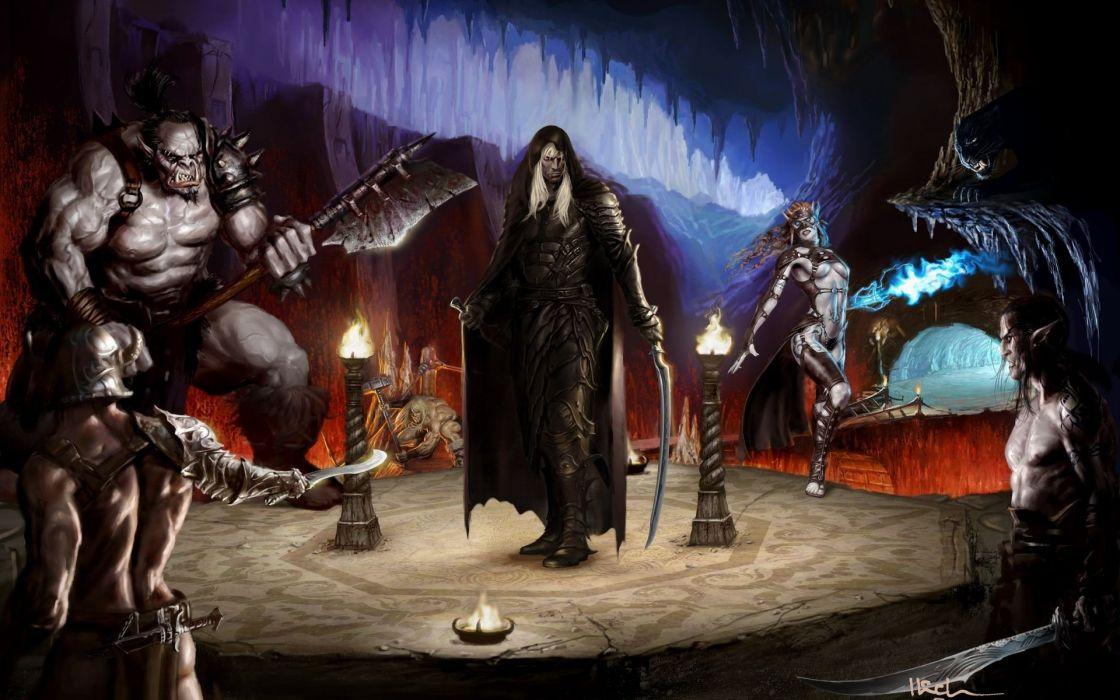 fantasy art warriors Drizzt dark elves wallpaper