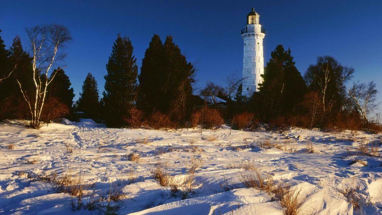 snow lighthouses islands Wisconsin Lake Michigan doors wallpaper