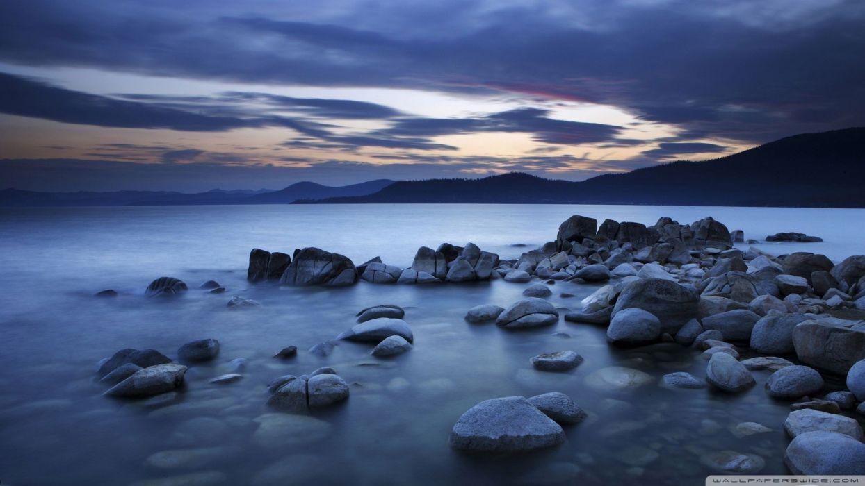 water rocks evening wallpaper