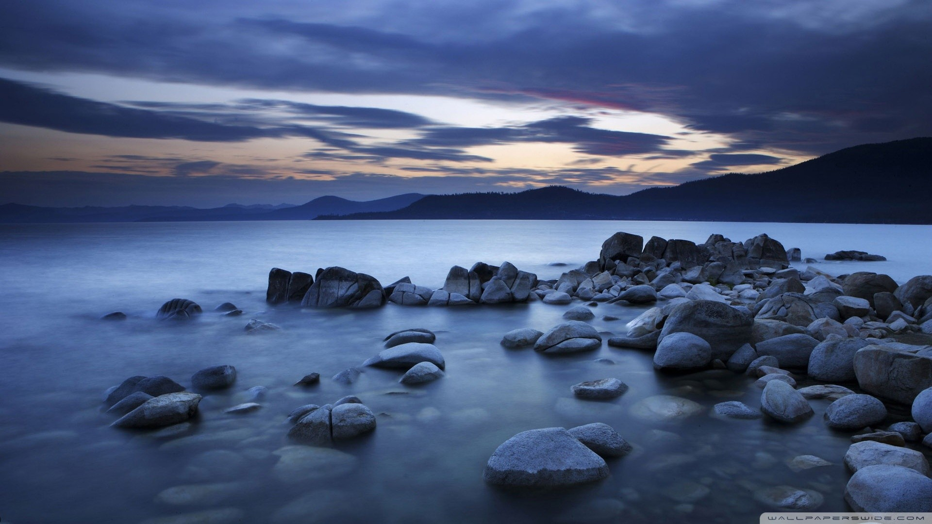 Rocks Water Wallpaper Water Rocks Evening