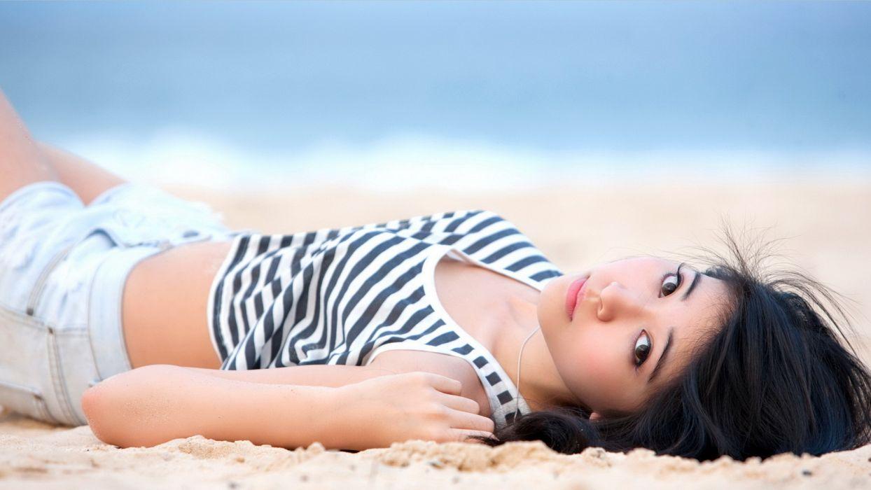 women bikini models Asians black hair wallpaper
