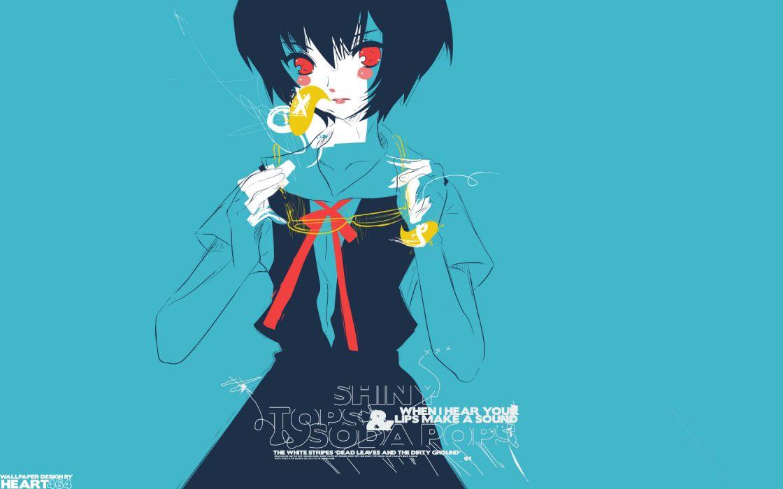 women abstract blue school uniforms Ayanami Rei Neon Genesis Evangelion anime simple background wallpaper