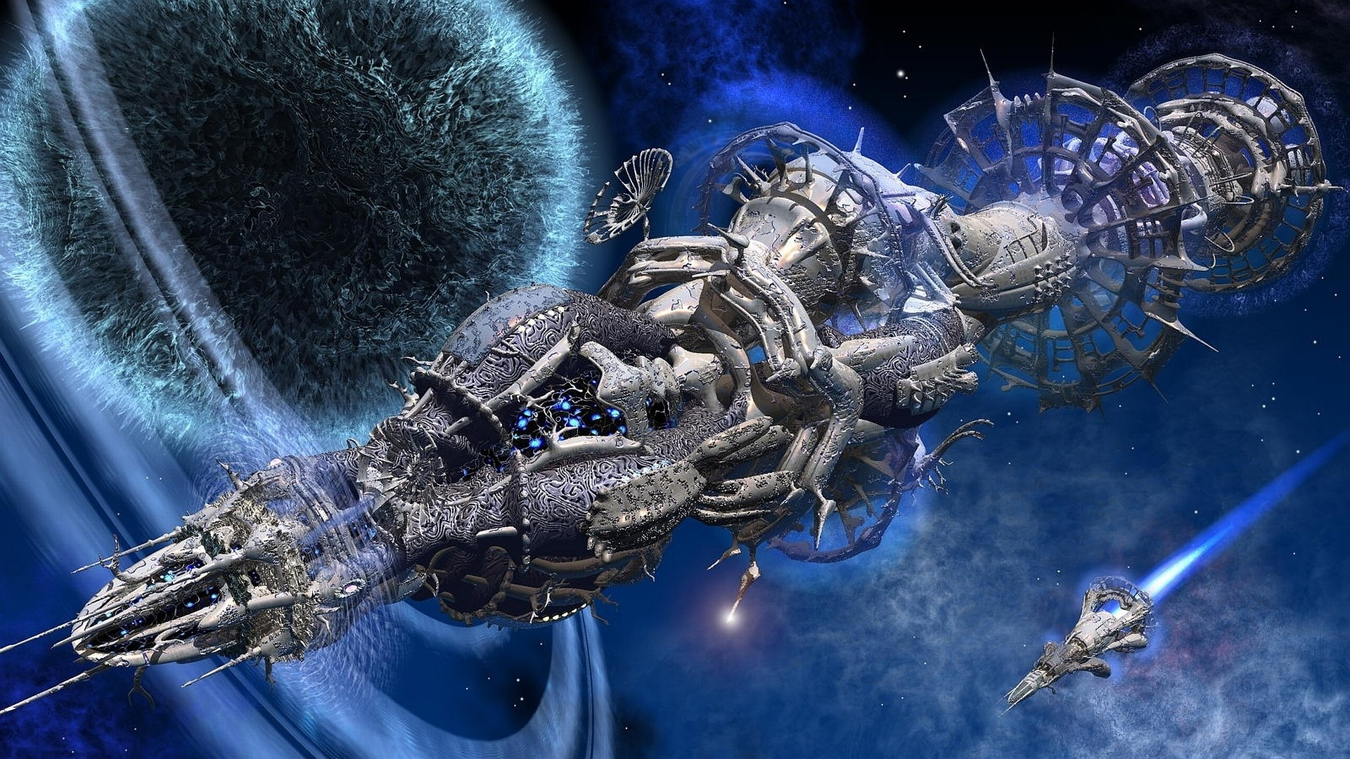 Outer space futuristic planets spaceships science fiction ...