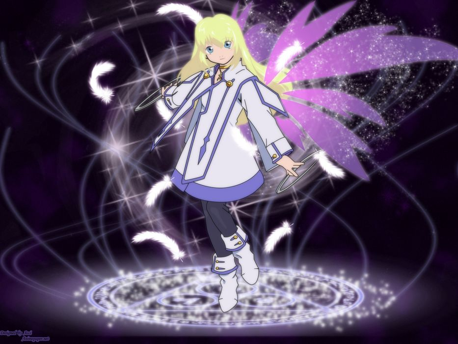 blondes angels wings pink fairies magic Tales of Symphonia anime girls wallpaper