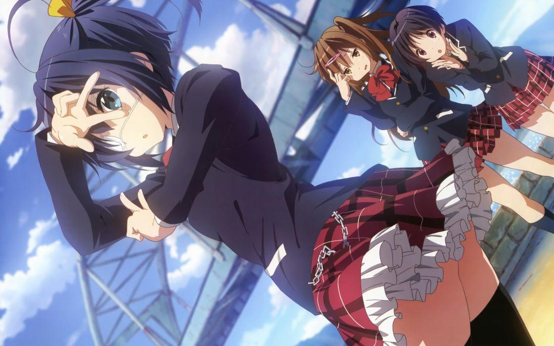 blue eyes school uniforms skirts anime girls Chuunibyou demo Koi ga Shitai wallpaper