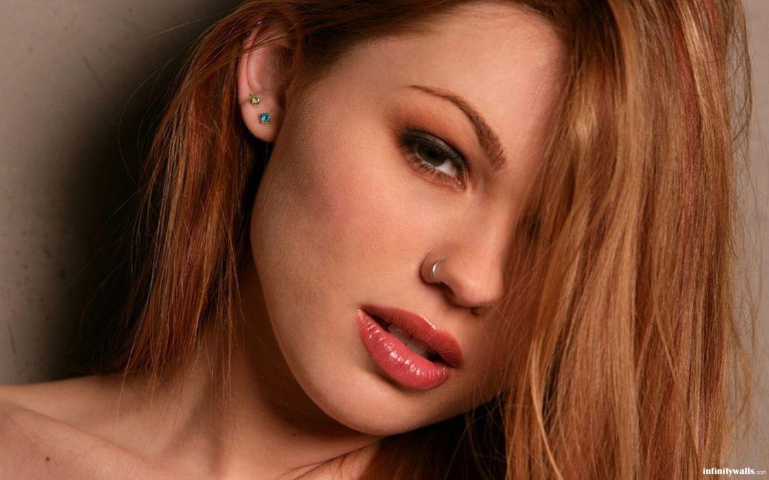 women redheads Jayme Langford nose ring faces wallpaper