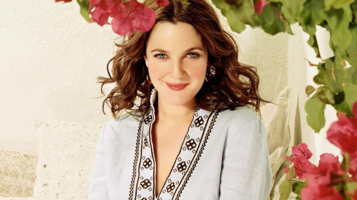 brunettes women flowers actress celebrity Drew Barrymore white dress wallpaper