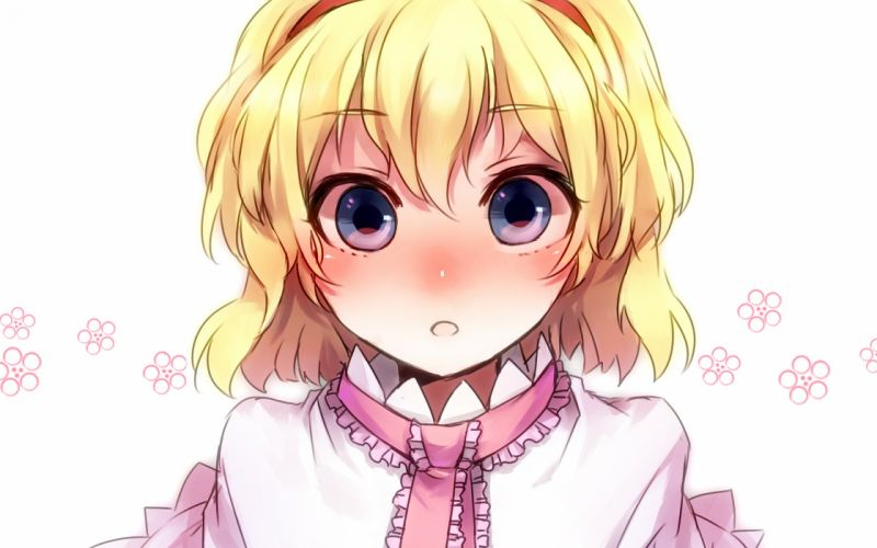 blondes Touhou blue eyes short hair Alice Margatroid simple background anime girls faces wallpaper