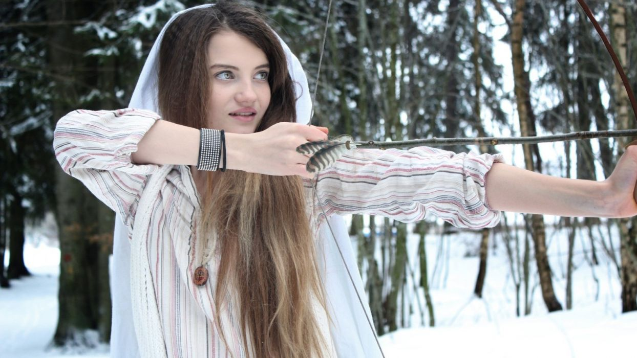women snow forests long hair bows necklaces arrows wallpaper
