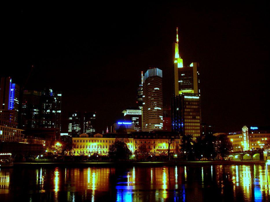 night Frankfurt cities wallpaper