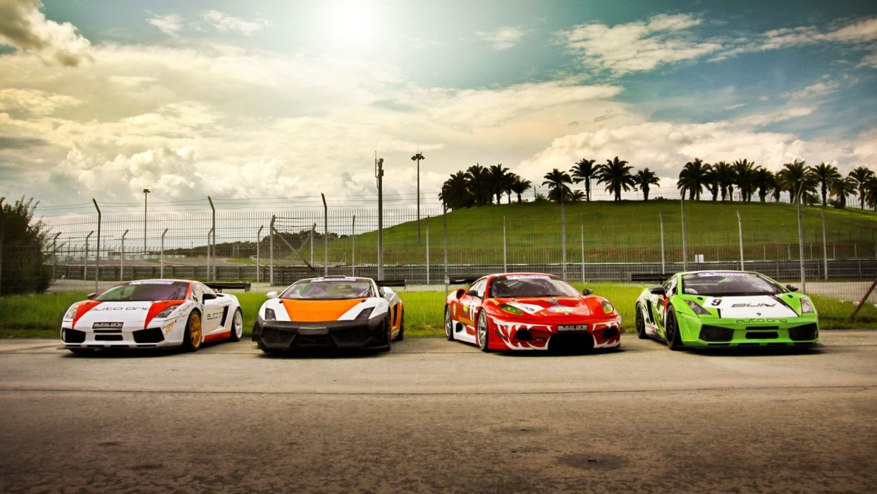 cars track Lamborghini Gallardo sports cars skyscapes Ferrari F430 racing cars gt3 wallpaper