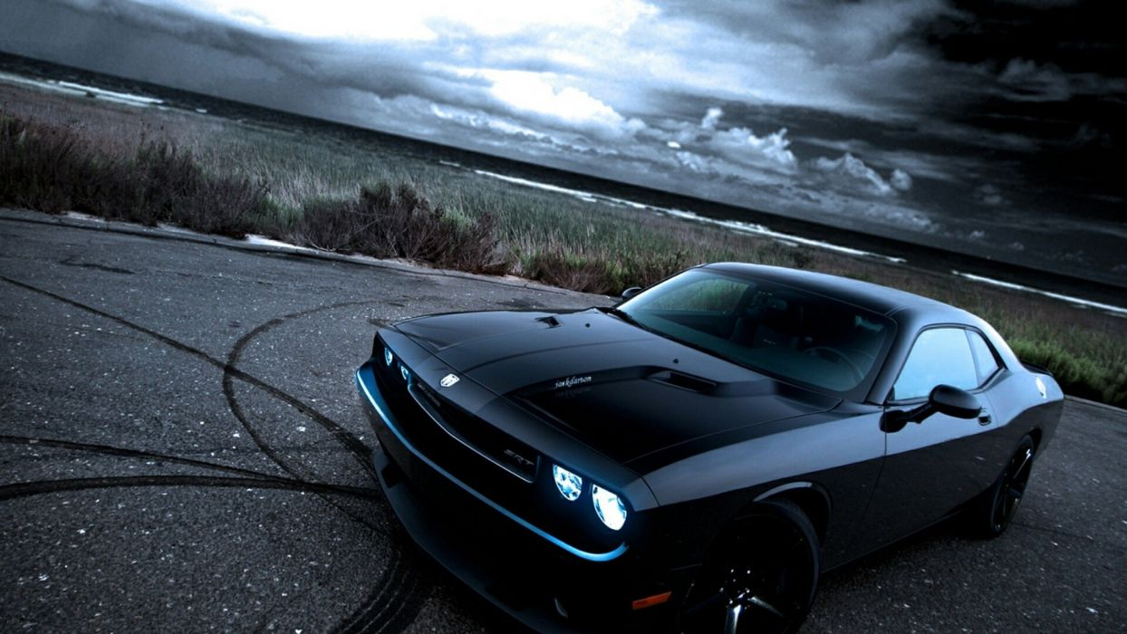 American black cars muscle cars Dodge Dodge Challenger Dodge Challenger SRT front angle view wallpaper