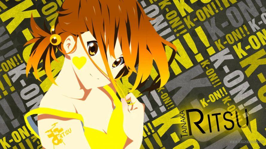 brunettes K-ON! yellow short hair Tainaka Ritsu smiling anime girls wallpaper