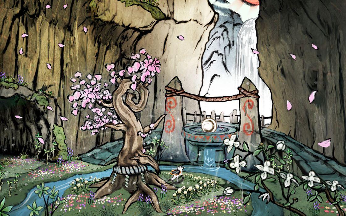 video games nature Okami drawings wallpaper