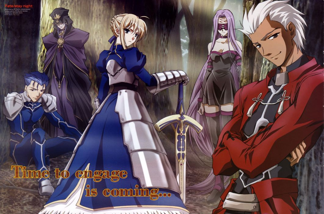 Fate/Stay Night Saber  Rider (Fate/Stay Night) Archer (Fate/Stay Night) Lancer (Fate/stay night) Caster (Fate/Stay Night) Fate series wallpaper