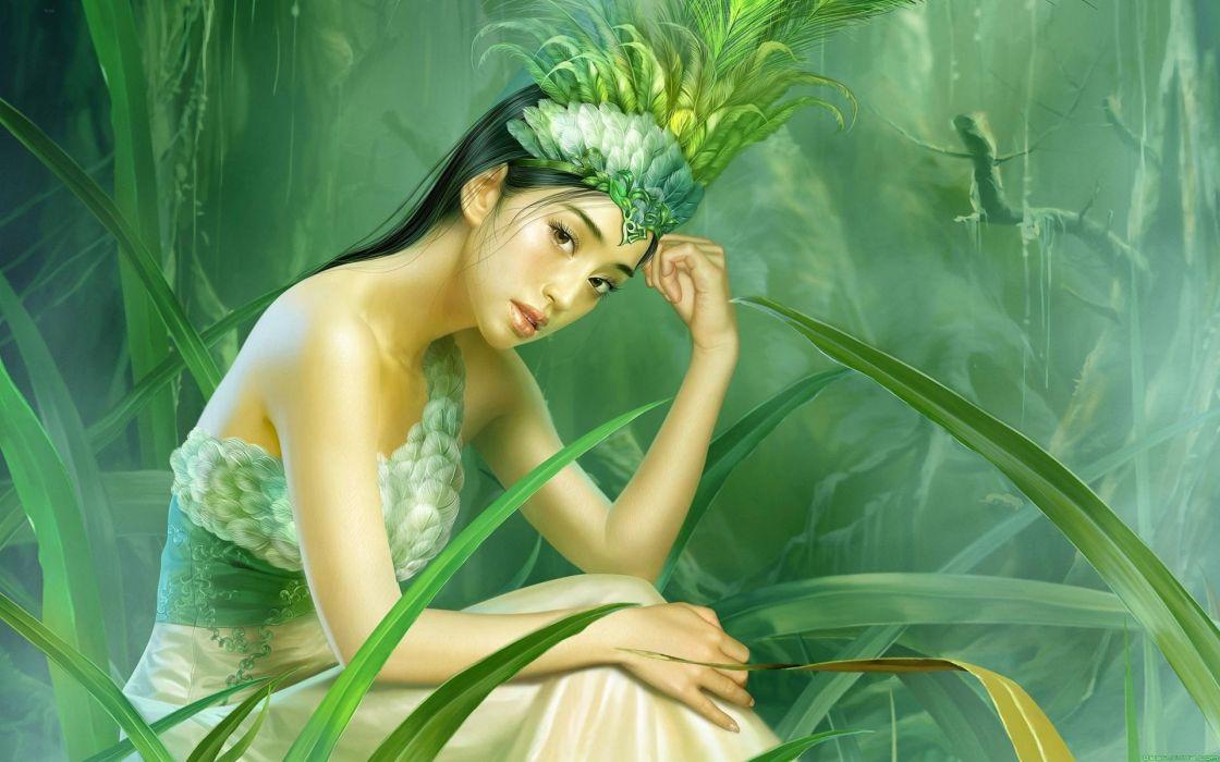 green CGI soft shading wallpaper