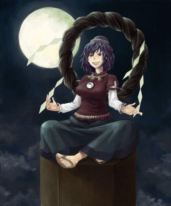 video games Touhou Goddess short hair Yasaka Kanako anime girls ropes hair ornaments wallpaper
