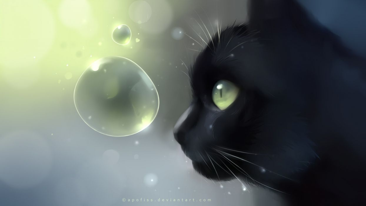 paper cats animals bubbles worlds digital art artwork Apofiss wallpaper