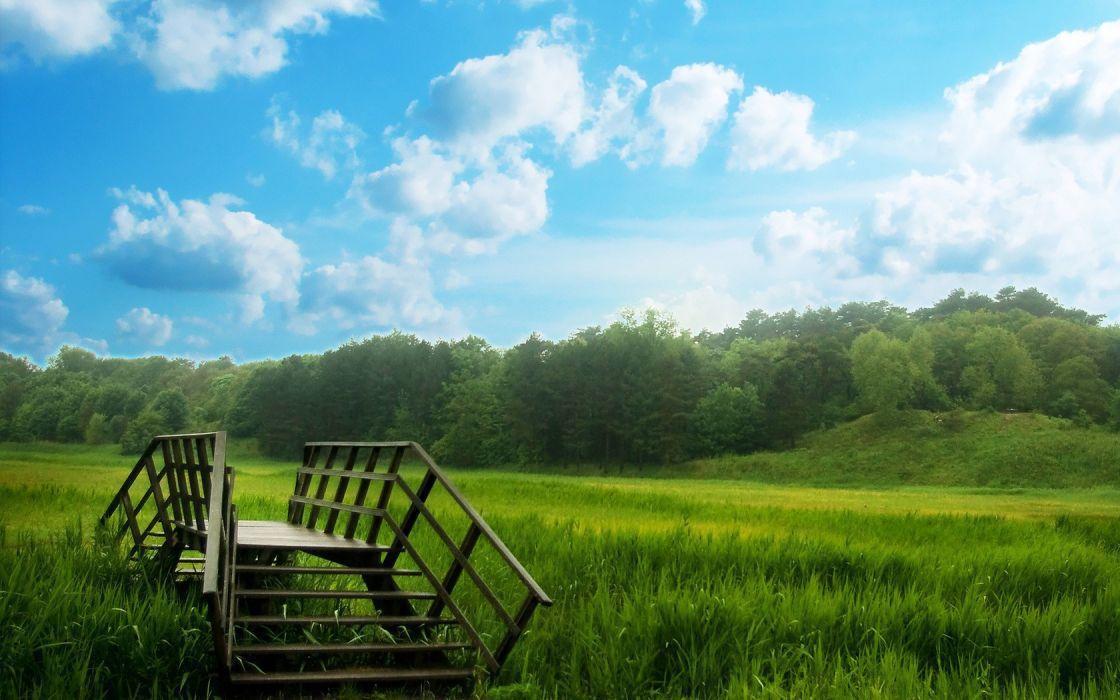 clouds landscapes nature grass fields bridges skyscapes wallpaper