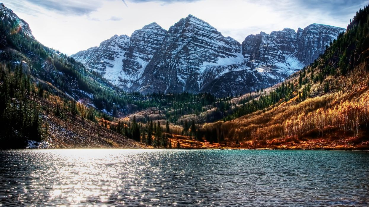 water mountains landscapes nature snow trees forests Colorado lakes HDR photography brightness Maroon Bells wallpaper