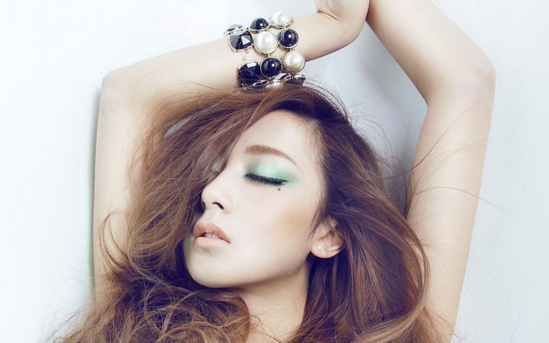 blondes women models long hair Asians closed eyes wallpaper