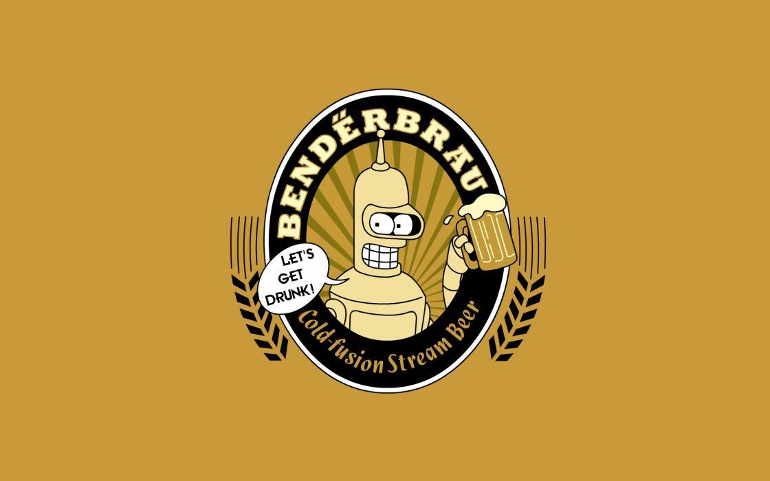 beers Futurama Bender wallpaper
