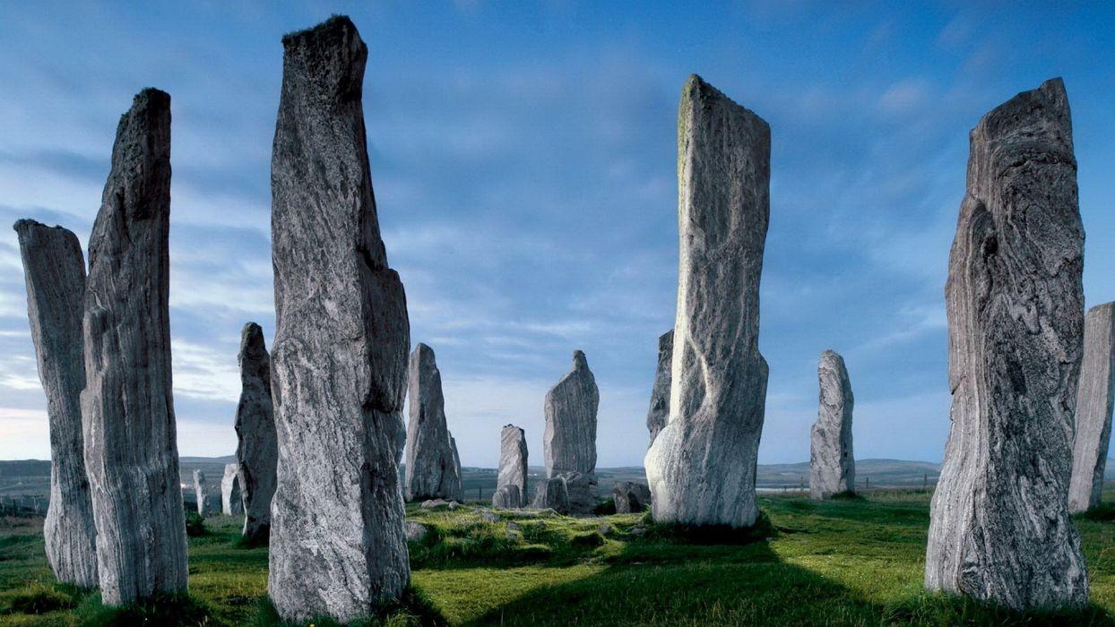 landscapes nature stones Scotland rock formations wallpaper