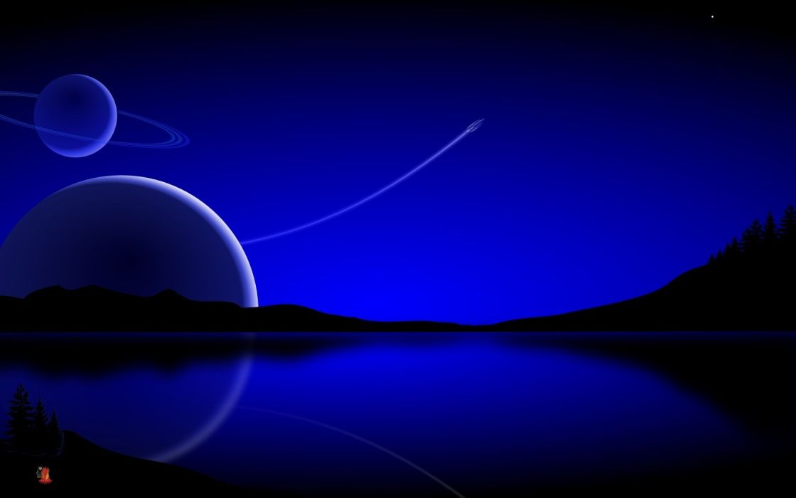 water stars planets rings spaceships vehicles Evergreen reflections blue skies wallpaper