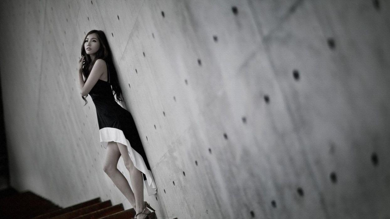 women Asians Korean Lee Ji Min models wallpaper