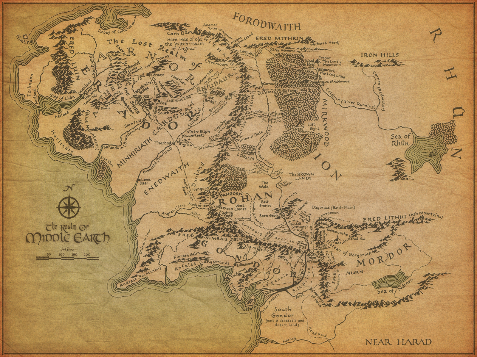the lord of the rings maps middle-earth wallpaper | 1600x1200