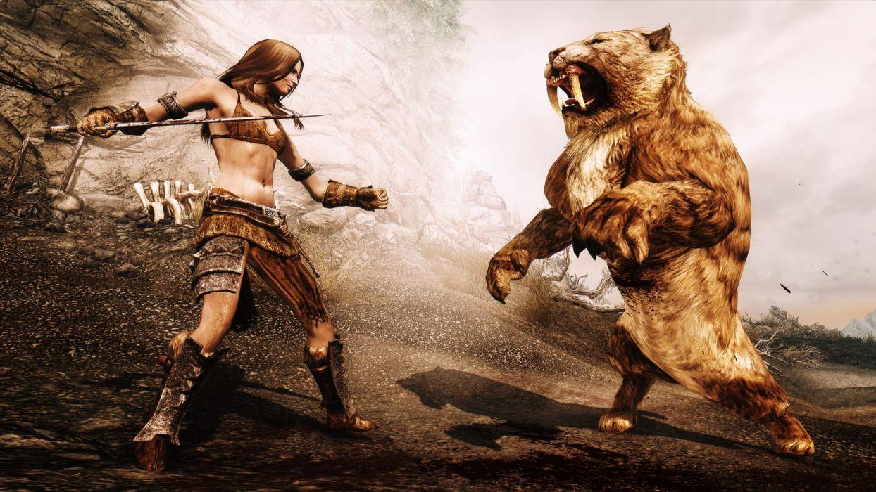 video games fight The Elder Scrolls V: Skyrim wallpaper