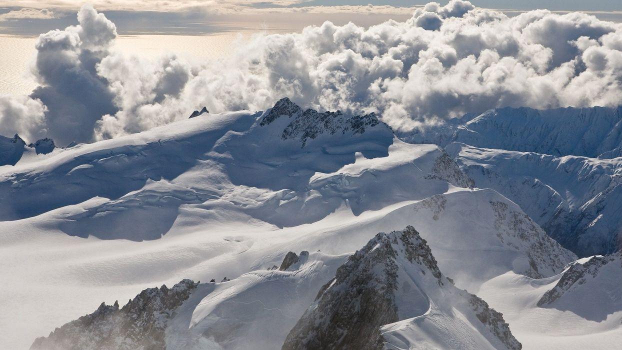 mountains clouds snow New Zealand vertex wallpaper