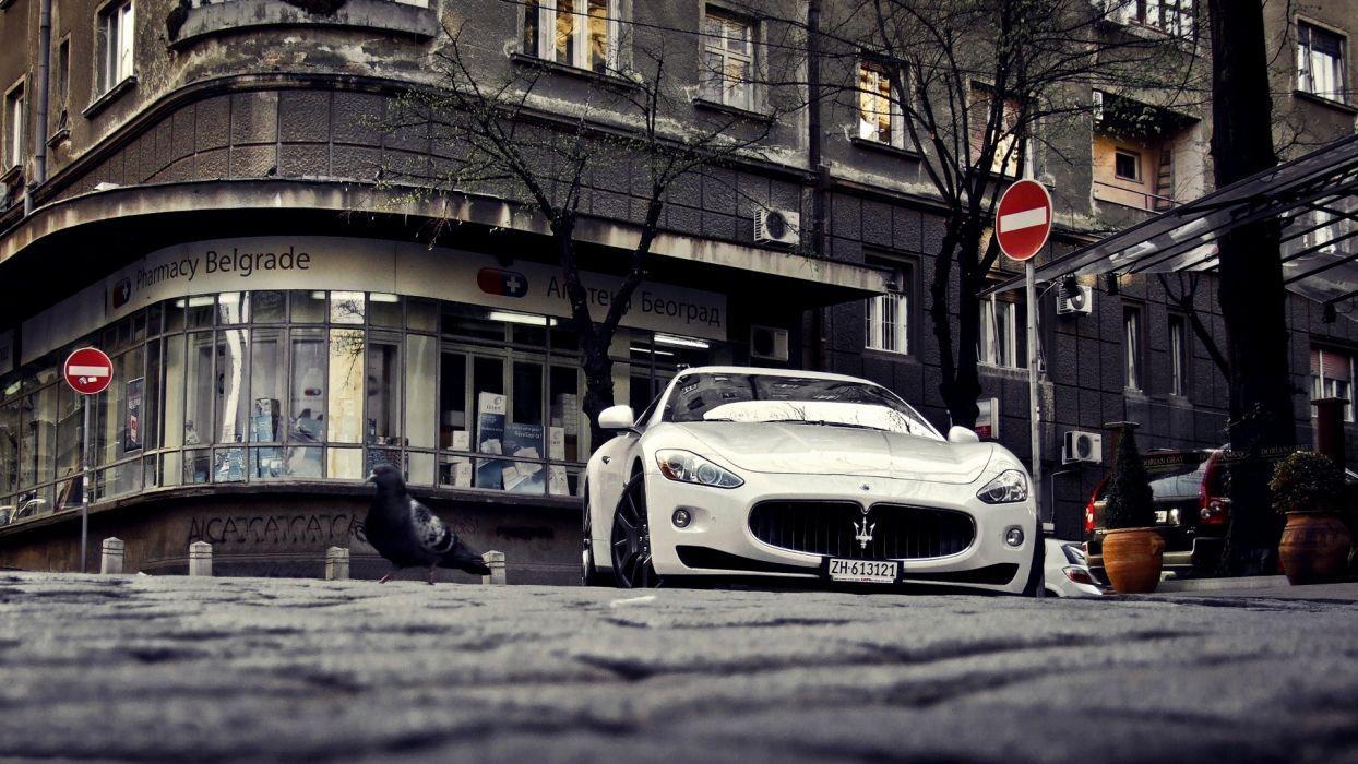streets cars Maserati Serbia Belgrade Maserati GranTurismo wallpaper