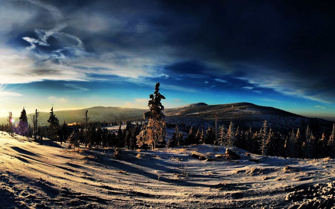 clouds landscapes winter trees wallpaper