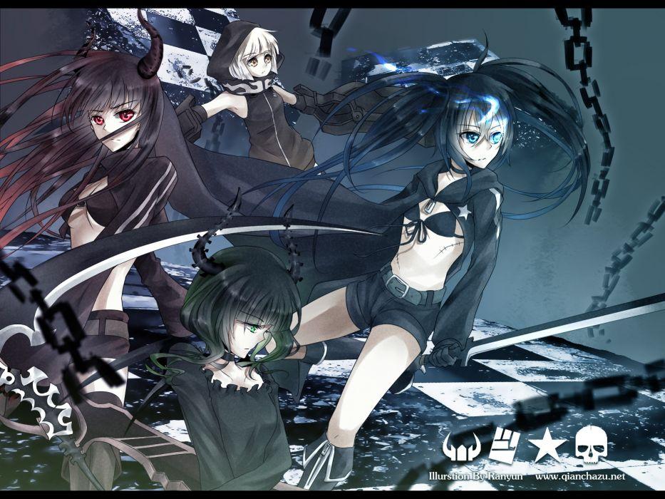 Black Rock Shooter blue eyes scythe Dead Master horns weapons red eyes green hair chains white hair Black Gold Saw Strength anime girls wallpaper