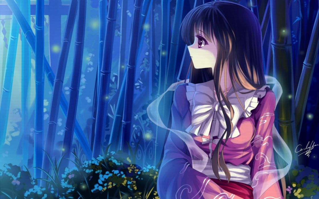 video games Touhou night forests princess bamboo long hair Houraisan Kaguya bows purple eyes black hair wallpaper